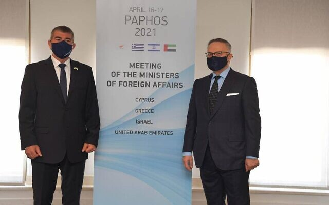 Foreign Minister Gabi Ashkenazi, left, and UAE representative to strategic talks Anwar Gargash, in Paphos, Cyprus, April 16, 2021 (Courtesy)