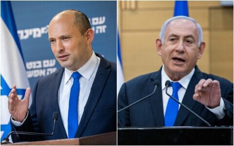 Left: Head of the Yamina party Naftali Bennett gives a press conference at the Knesset in Jerusalem, on April 21, 2021; Right: Prime Minister Benjamin Netanyahu speaks during a press coneference at the Knesset in Jerusalem, on April 21, 2021 (Yonatan Sindel/Flash90)