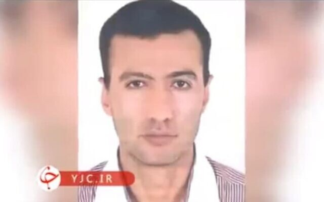 A passport-style photo aired by Iranian state television shows Reza Karimi, 43, who Tehran says was behind the sabotage at Natanz on April 11 that it has blamed on Israel (video screenshot)
