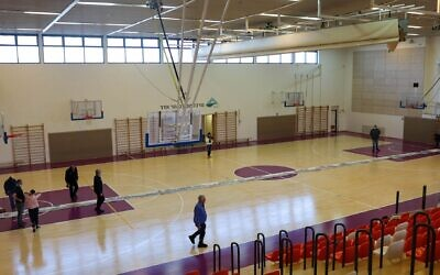 A view of Moriah's megillah spanning an entire basketball court. (Rahn Sas via JTA)