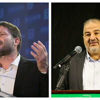 Religious Zionism chairman Bezalel Smotrich (L) and Ra'am chairman Mansour Abbas (R). (Sraya Diamant/David Cohen/Flash90)