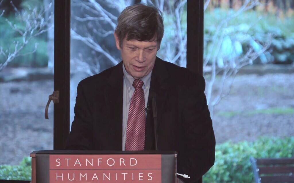 Steven M. Cohen speaks at the Stanford University humanities center in 2016. (YouTube screenshot)