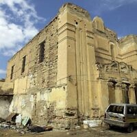 A picture shows the abandoned Dar Bishi synagogue in the Libyan capital Tripoli on September 28, 2011. (Joseph Eid/AFP/Getty Images via JTA)