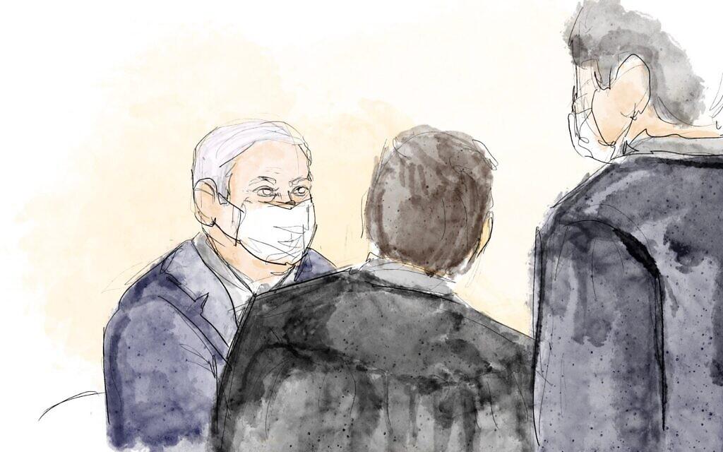 Court sketch of Prime Minister Benjamin Netanyahu in the Jerusalem District Court, April 5, 2021. (Biana Zakutnik)