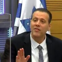 Likud MK Miki Zohar during an angry exchange at the Knesset's Arrangements Committee, April 26, 2020 (Screen grab/Knesset TV)