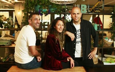 Left to right: HoneyBook co-founders Dror Shimoni, Naama Alon and Oz Alon (Courtesy)