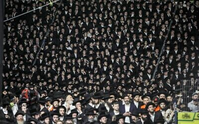 Ultra-Orthodox Jews gather at the grave site of Rabbi Shimon Bar Yochai at Mount Meron in northern Israel on April 29, 2021, as they celebrate the Jewish holiday of Lag B'Omer (JALAA MAREY / AFP)