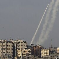 Rockets are fired from Gaza City, controlled by the Palestinian terror movement Hamas, towards Israel on May 10, 2021. (MAHMUD HAMS / AFP)