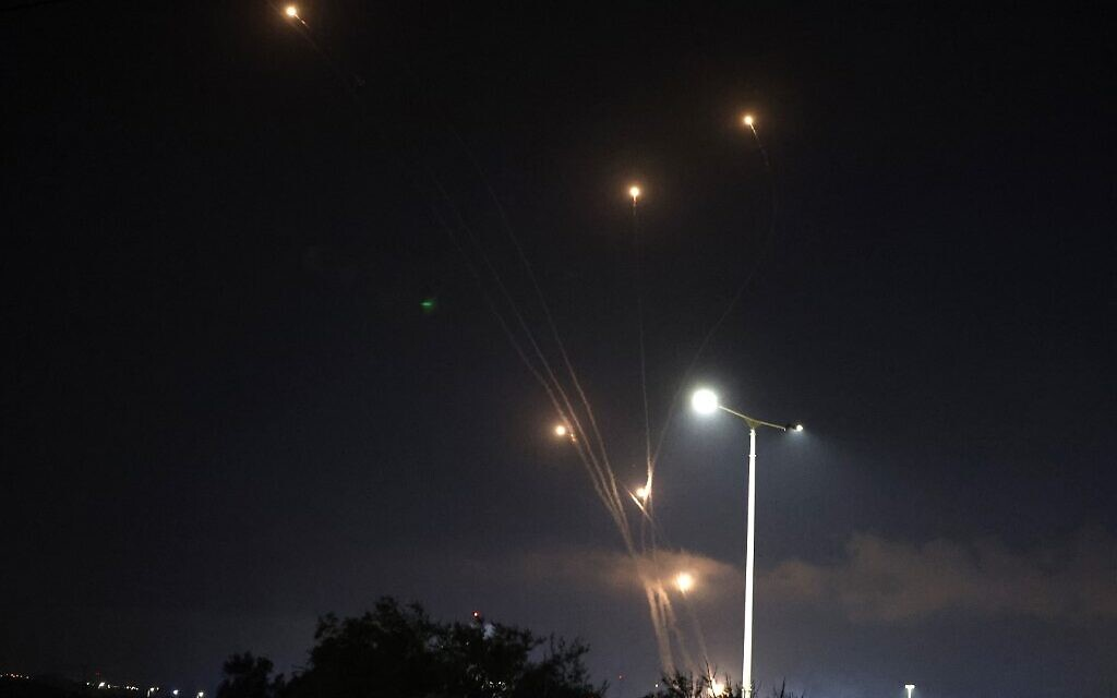 Israel's Iron Dome aerial defense system intercepts rockets launched from the Gaza Strip above the southern Israeli city of Ashkelon, on May 10, 2021. ( Jack GUEZ / AFP)