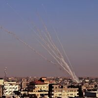 Rockets are launched towards Israel from Rafah, in the southern Gaza Strip, on May 12, 2021 (SAID KHATIB / AFP)