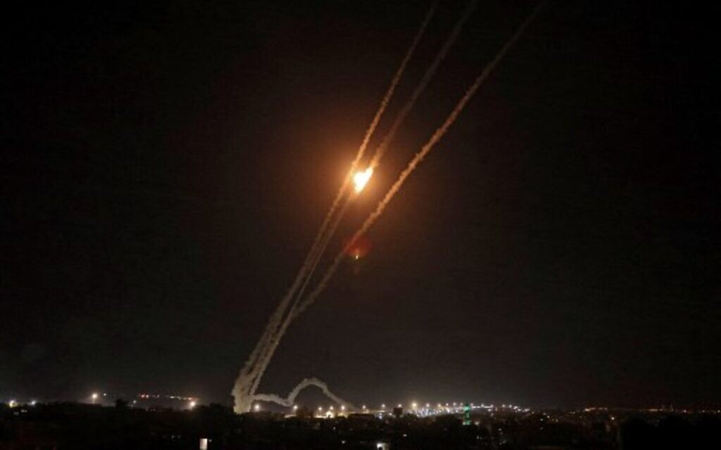Rockets are fired towards Israel from Rafah in the southern Gaza Strip on May 14, 2021. (Photo by SAID KHATIB / AFP)