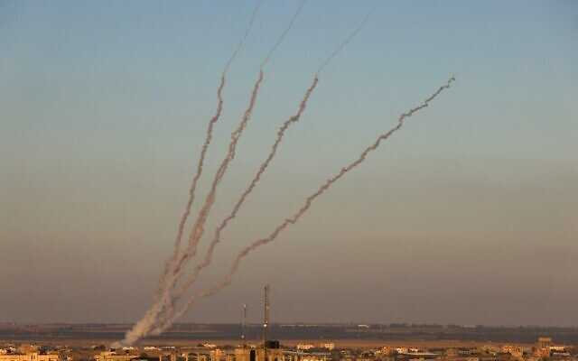 Rockets are launched towards Israel from Rafah, in the southern the Gaza Strip, controlled by the Palestinian Hamas terror group, on May 15, 2021. (Said KHATIB / AFP)