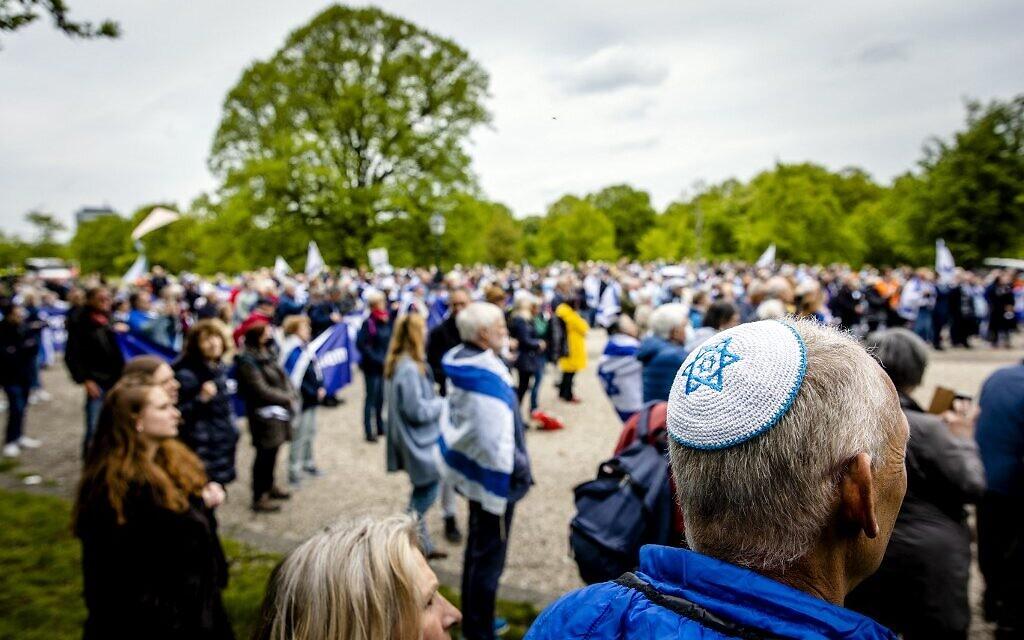 A pro-Israel demonstration at the Koekamp, Netherlands, on May 20, 2021 (Sem van der Wal / ANP / AFP)