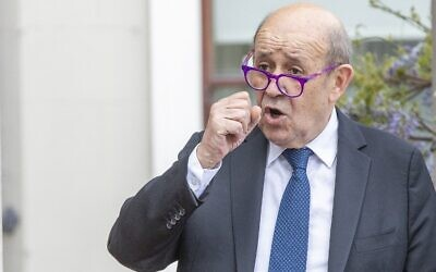 French Minister for Foreign Affairs Jean-Yves Le Drian speaks during a joint press conference with Irish Minister for Foreign Affairs Simon Coveney, at Farmleigh House and Estate in Dublin on May 20, 2021. (PAUL FAITH / AFP)