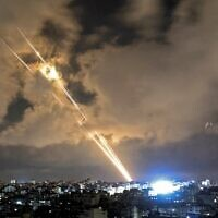 Rockets are launched towards Israel from Gaza City on May 20, 2021. (Mahmud Hams/AFP)