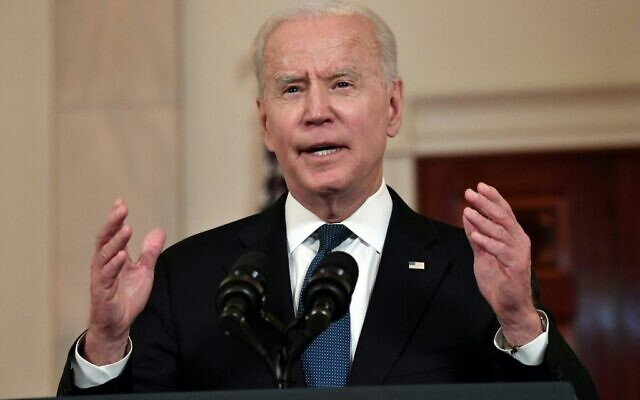 US President Joe Biden delivers remarks on the Middle East in the Cross Hall of the White House, in Washington, DC on May 20, 2021.  (Photo by Nicholas Kamm / AFP)