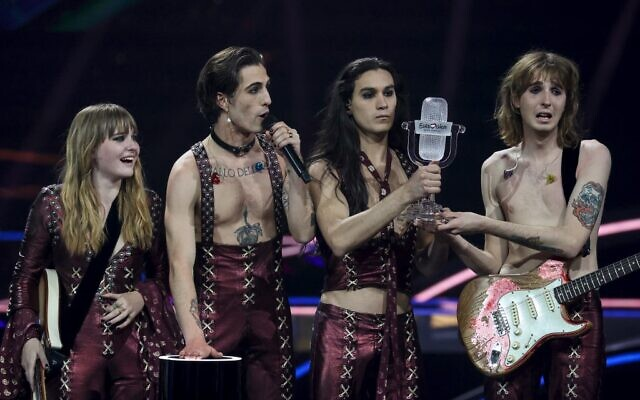 Italy's Maneskin celebrate on stage with the trophy after winning the final of the 65th edition of the Eurovision Song Contest 2021, at the Ahoy convention center in Rotterdam, on May 22, 2021. (Kenzo Tribouillard / AFP)