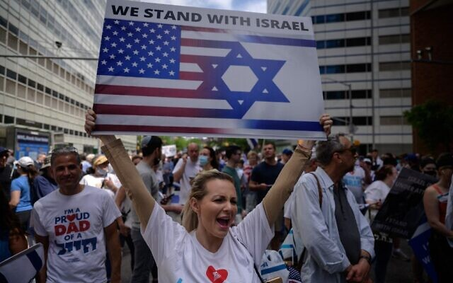 Pro-Israel demonstrators attend a rally denouncing antisemitism and antisemitic attacks, in lower Manhattan, New York on May 23, 2021. (Ed JONES / AFP)