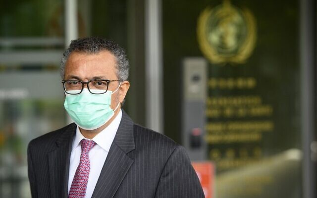 The Director General of the World Health Organization (WHO) Tedros Adhanom Ghebreyesus waits for the Swiss interior and health minister for a bilateral meeting on the sideline of the opening of the 74th World Health Assembly  at the WHO headquarters, in Geneva, on May 24, 2021. (Photo by LAURENT GILLIERON / POOL / AFP)