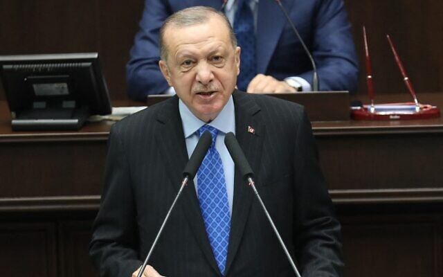 Turkish President Recep Tayyip Erdogan speaks during his ruling AK Party's group meeting at the Grand National Assembly of Turkey, in Ankara, on May 26, 2021. (Adem Altan/AFP)