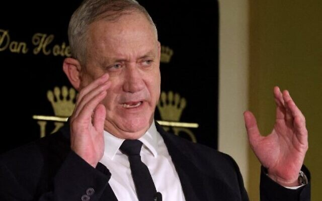 Defense Minister Benny Gantz addresses the media in Jerusalem on May 31, 2021. (Emmanuel DUNAND / AFP)