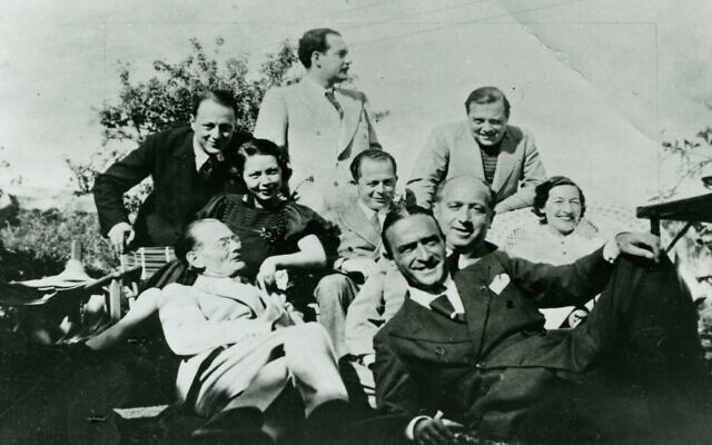 Billy Wilder, at center, with Peter Lorre and other Middle European refugees in Hollywood. (Courtesy/ Deutsche Kinemathek)