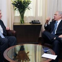 Rep. Robert Wexler (D-Fla.) and Prime Minister Benjamin Netanyahu meet in Israel in July 2009. (Government Press Office via JTA)