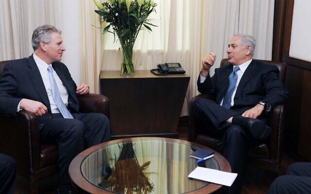 Rep. Robert Wexler (D-Fla.) and Prime Minister Benjamin Netanyahu meet in Israel in July 2009. (Government Press Office via JTA)