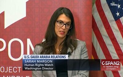 Sarah Margon appears on a panel at the Hoover Institute in Washington DC on Oct. 18, 2018. (C-SPAN via JTA)