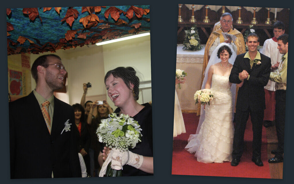 Stephen and Bethany Slater at their first Christian wedding, right, and their Jewish wedding. (Courtesy/ via JTA)