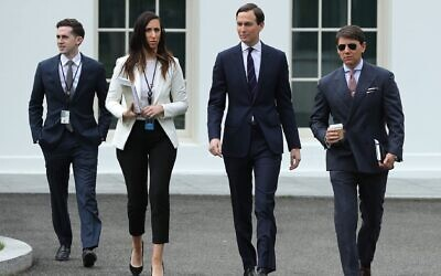 (L-R) Assistant to the President and Special Representative for International Negotiations Avi Berkowitz, Special Assistant to the President Alexa Henning, Senior Advisor to President Donald Trump and son-in-law Jared Kushner and White House Deputy Press Secretary Hogan Gidley walk out of the White House, May 8, 2020. (Chip Somodevilla/Getty Images)