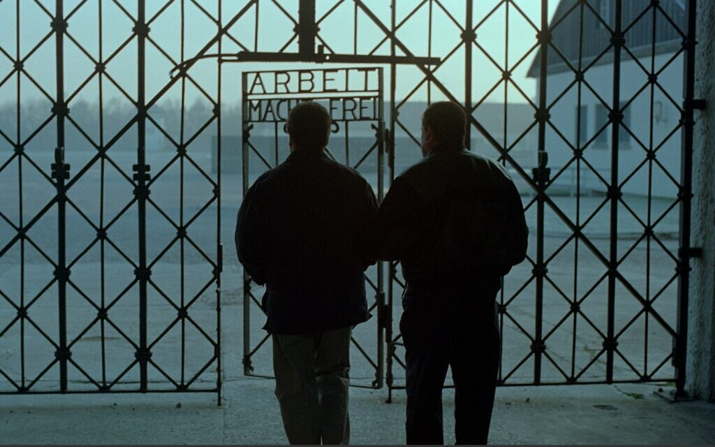 Bill Basch returns with his son Martin to the Dachau concentration camp in Germany in the 1998 documentary 'The Last Days.' (Courtesy)