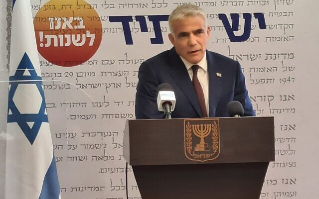 Yesh Atid leader Yair Lapid speaks at a weekly faction meeting in the Knesset on May 5, 2021 (Courtesy)