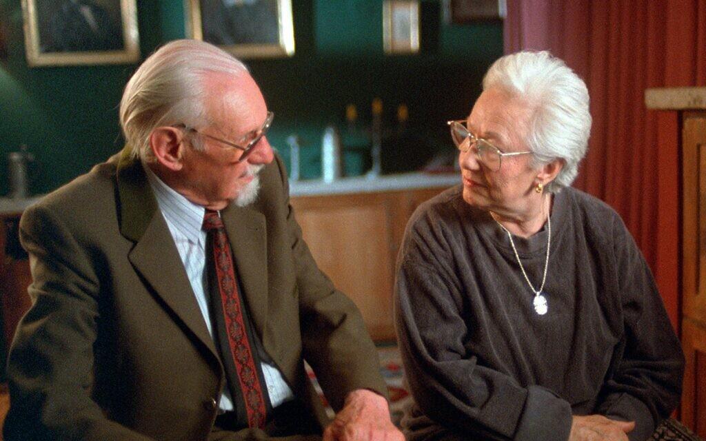 Renée Firestone speaks with Auschwitz doctor Hans Munch in the 1998 documentary, 'The Last Days.' (Courtesy)