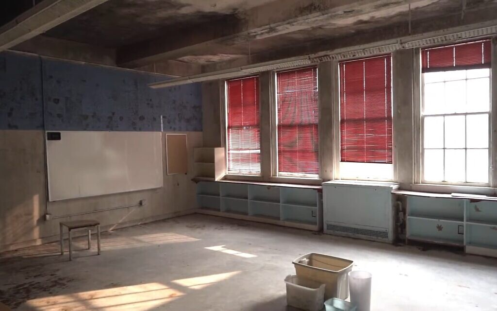 The inside of the former Seattle Talmud Torah, now the Cherry Street Mosque, is in disrepair, and activists are looking to raise money to create an interfaith community center there. (Screenshot/YouTube)