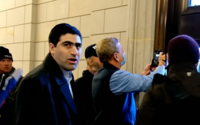 Elliot Resnick, then editor-in-chief of The Jewish Press, seen in the crowd during the breach of the US Capitol on January 6, 2021. (Screenshot from YouTube)
