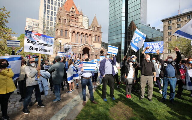 Illustrative: A rally in support of Israel in Boston's historic Copley Square organized by the Israeli American Council, May 12, 2021. (Courtesy of IAC Boston via JTA)