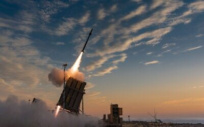 Iron Dome in action, on May 13, 2021. (Avichai Socher/IDF)