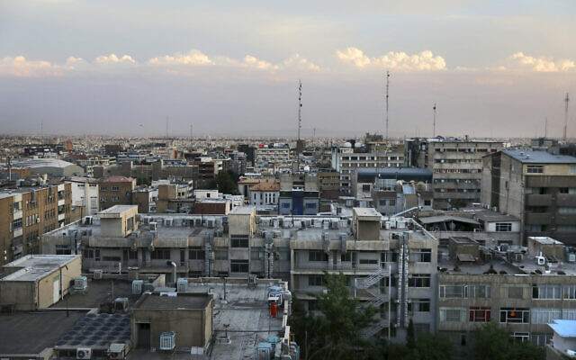 This May 17, 2019, photo shows a general view of downtown Tehran, Iran. (AP Photo/Vahid Salemi)