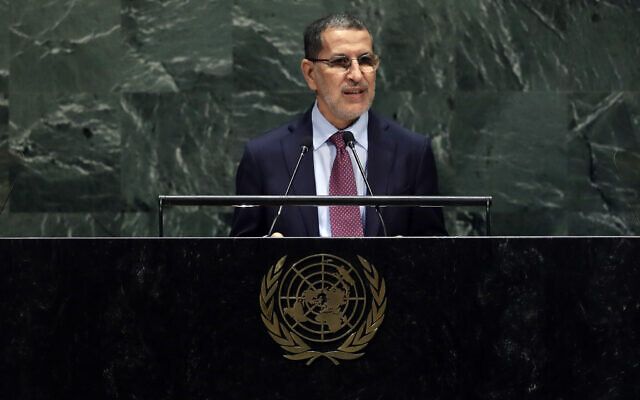 Morocco's Prime Minister Saad Eddine el-Othmani addresses the 74th session of the United Nations General Assembly, at the UN headquarters, September 24, 2019. (Frank Franklin II/AP)