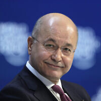 Iraq's President Barham Salih addresses the World Economic Forum in Davos, Switzerland, January 22, 2020. (Markus Schreiber/AP)