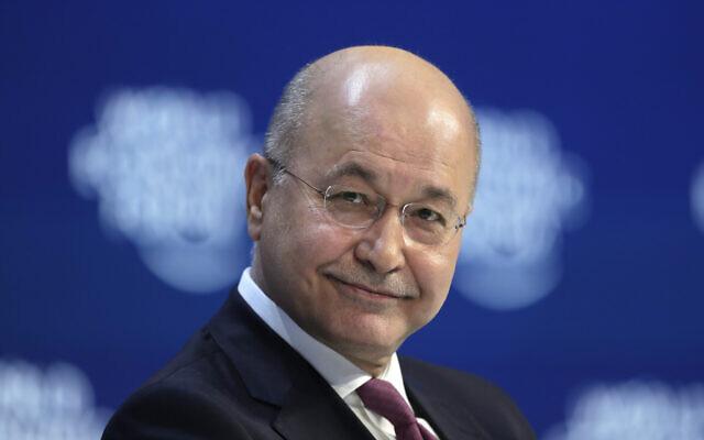 Iraq's President Barham Salih addresses the World Economic Forum in Davos, Switzerland, January 22, 2020. (Markus Schreiber/AP)