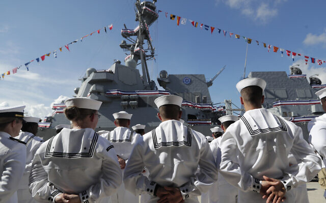 FILE - In this July 27, 2019, file photo, sailors stand during a commissioning ceremony at Port Everglades in Fort Lauderdale, Florida (AP Photo/Lynne Sladky, File)