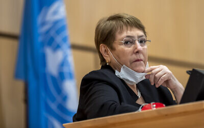 UN High Commissioner for Human Rights, Michelle Bachelet, attends a meeting of the Human Rights Council of the United Nations in Geneva, Switzerland, June 17, 2020. (Martial Trezzini/Keystone via AP)