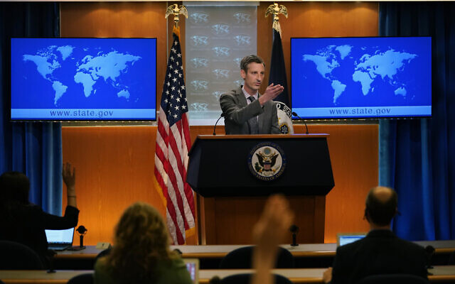 US State Department spokesman Ned Price takes questions from reporters at the State Department in Washington on March 31, 2021. (AP Photo/Carolyn Kaster, Pool)
