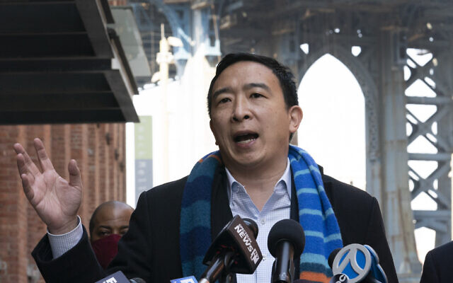 In this March 11, 2021 file photo, Democratic mayoral candidate Andrew Yang holds a news conference in the Dumbo neighborhood of New York.  AP Photo/Mark Lennihan)