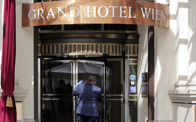 The 'Grand Hotel Wien' where closed-door nuclear talks with Iran were taking place in Vienna, Austria,  April 27, 2021. (Lisa Leutner/AP)
