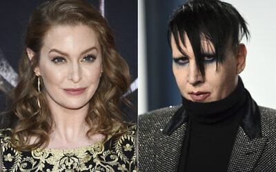 """In this combination photo, actress Esmé Bianco appears at HBO's """"Game of Thrones"""" final season premiere in New York on April 3, 2019, left, and musician Marilyn Manson appears at the Vanity Fair Oscar Party in Beverly Hills, California. (Evan Agostini/Invision/AP)"""