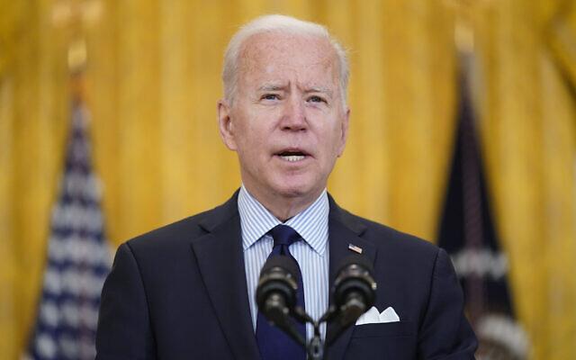 US President Joe Biden speaks in the East Room of the White House, May 7, 2021, in Washington. (AP Photo/Patrick Semansky)