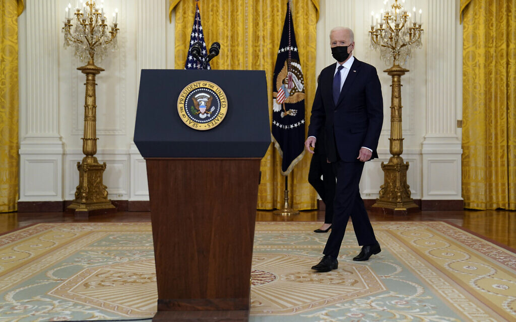 US President Joe Biden arrives to speak about the economy, in the East Room of the White House on May 10, 2021, in Washington. (AP/Evan Vucci)